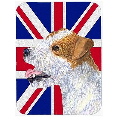 Caroline's Treasures Union Jack Russell Terrier w/ English British Flag Glass Cutting Board