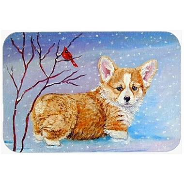 Caroline's Treasures Corgi Pup Snow Cardinal Glass Cutting Board