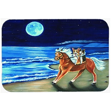 Caroline's Treasures Corgi Beach Ride on Horse Glass Cutting Board
