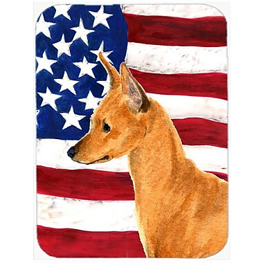 Caroline's Treasures Patriotic USA American Flag w/ Min Pin Glass Cutting Board