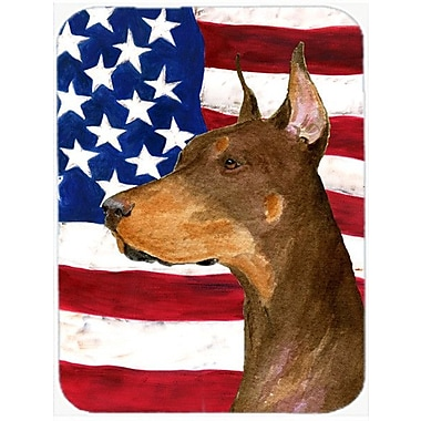 Caroline's Treasures Patriotic USA American Flag w/ Doberman Glass Cutting Board