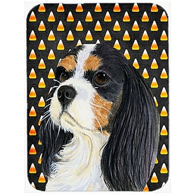 Caroline's Treasures Halloween Candy Corn Cavalier Spaniel Tricolor Glass Cutting Board