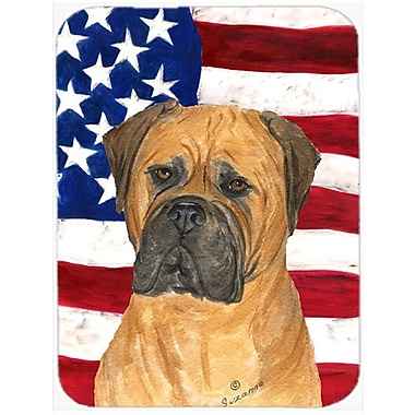 Caroline's Treasures Patriotic USA American Flag w/ Bullmastiff Glass Cutting Board