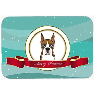 Caroline's Treasures Boxer Merry Christmas Glass Cutting Board