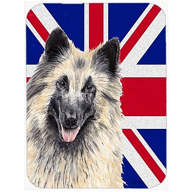 Caroline's Treasures Union Jack Belgian Tervuren w/ English British Flag Glass Cutting Board