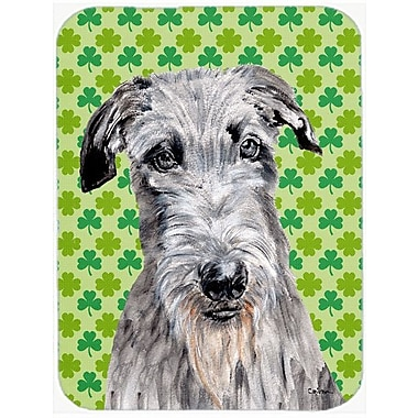 Caroline's Treasures Shamrock Lucky Irish Scottish Deerhound St. Patrick's Day Glass Cutting Board