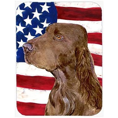 Caroline's Treasures Patriotic USA American Flag w/ Field Spaniel Glass Cutting Board