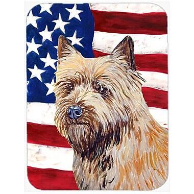 Caroline's Treasures Patriotic USA American Flag w/ Cairn Terrier Glass Cutting Board
