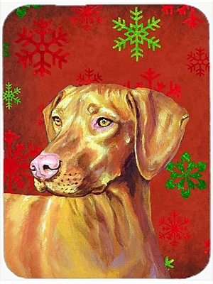 Caroline's Treasures Snowflakes Vizsla Glass Cutting Board; Red/Green