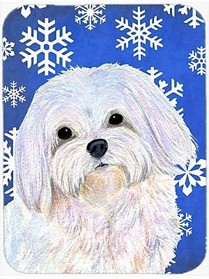 Caroline's Treasures Snowflakes Maltese Glass Cutting Board; Blue/White