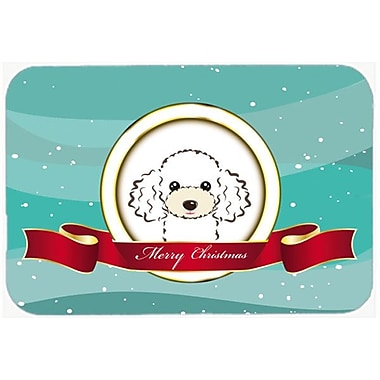 Caroline's Treasures Poodle Merry Christmas Glass Cutting Board; White