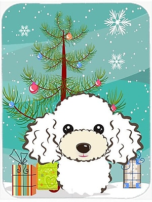 Caroline's Treasures Under the Christmas Tree and Poodle Glass Cutting Board; White