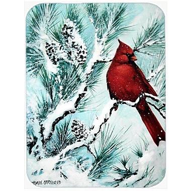 Caroline's Treasures Winter's Glory Redbird 1 Northern Cardinal Glass Cutting Board