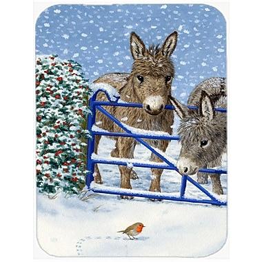 Caroline's Treasures Donkeys and Robin Glass Cutting Board