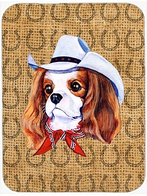 Caroline's Treasures Cavalier Spaniel Dog Country Lucky Horseshoe Glass Cutting Board