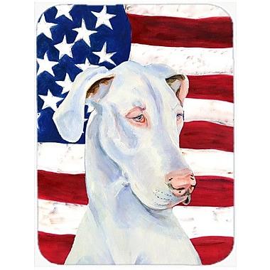 Caroline's Treasures Patriotic USA American Flag w/ Great Dane Glass Cutting Board