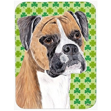 Caroline's Treasures Shamrock Lucky Irish Boxer St. Patrick's Day Portrait Glass Cutting Board