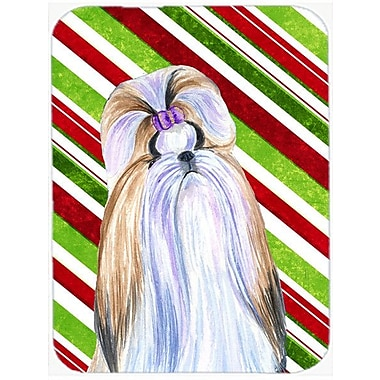 Caroline's Treasures Shih Tzu Candy Cane Holiday Christmas Glass Cutting Board