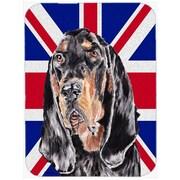 Caroline's Treasures Union Jack Coonhound w/ English British Flag Glass Cutting Board