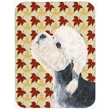 Caroline's Treasures Fall Leaves Dandie Dinmont Terrier Portrait Glass Cutting Board