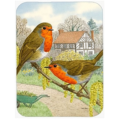 Caroline's Treasures European Robins Glass Cutting Board