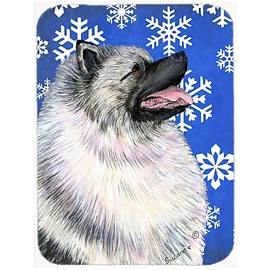 Caroline's Treasures Snowflakes Keeshond Glass Cutting Board; Blue/White