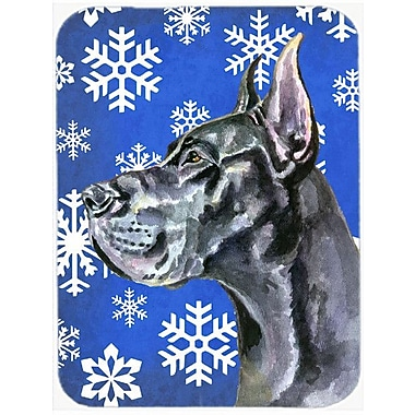 Caroline's Treasures Snowflakes Great Dane Glass Cutting Board; Blue/White