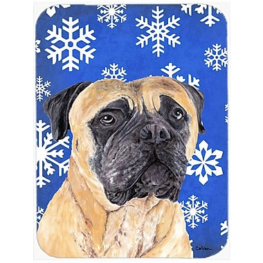Caroline's Treasures Snowflakes Mastiff Glass Cutting Board; Blue/White