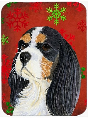 Caroline's Treasures Snowflakes Cavalier Spaniel Glass Cutting Board; Red/Green