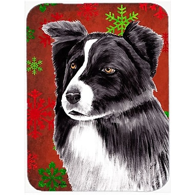 Caroline's Treasures Snowflakes Border Collie Glass Cutting Board; Red/Green