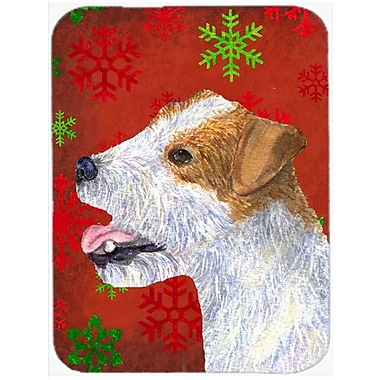 Caroline's Treasures Snowflakes Jack Russell Terrier Glass Cutting Board; Red/Green