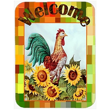 Caroline's Treasures Welcome Rooster Glass Cutting Board