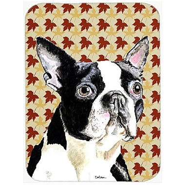 Caroline's Treasures Fall Leaves Boston Terrier Portrait Glass Cutting Board
