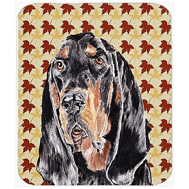 Caroline's Treasures Fall Leaves Coonhound Glass Cutting Board