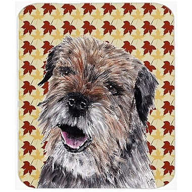 Caroline's Treasures Fall Leaves Border Terrier Glass Cutting Board