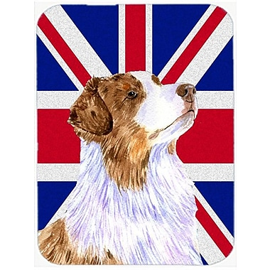 Caroline's Treasures Union Jack Australian Shepherd w/ English British Flag Glass Cutting Board