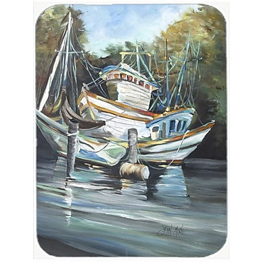 Caroline's Treasures Shrimpers Cove and Shrimp Boats Glass Cutting Board