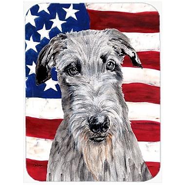 Caroline's Treasures Patriotic Scottish Deerhound w/ American Flag USA Glass Cutting Board