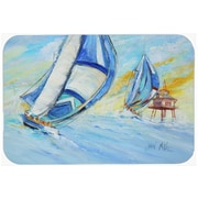 Caroline's Treasures Sailboats and Middle Bay Lighthouse Glass Cutting Board