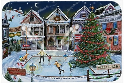 Caroline's Treasures Christmas Family Skate Night Glass Cutting Board