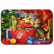 Caroline's Treasures Kitten Return Puppy to Santa Claus Glass Cutting Board