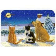 Caroline's Treasures Golden Retriever and Kittens Watching Santa Glass Cutting Board