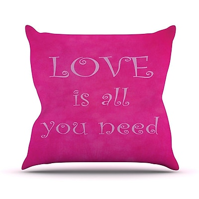 KESS InHouse Love is All You Need Outdoor Throw Pillow