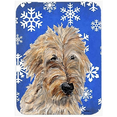 Caroline's Treasures Snowflakes Golden Doodle 2 Glass Cutting Board; Blue/White