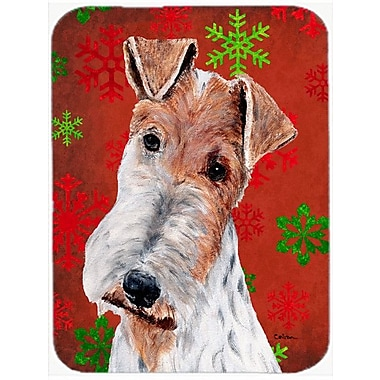 Caroline's Treasures Snowflakes Wire Fox Terrier Glass Cutting Board; Red/Green
