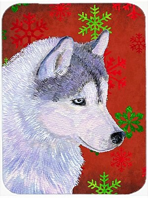 Caroline's Treasures Snowflakes Siberian Husky Glass Cutting Board; Red/Green