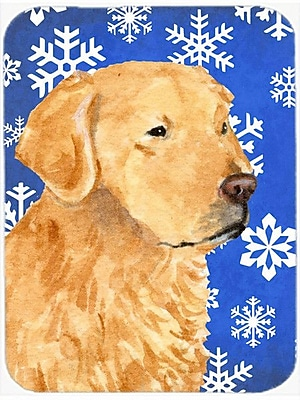 Caroline's Treasures Snowflakes Golden Retriever Glass Cutting Board; Blue/White