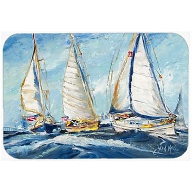 Caroline's Treasures Roll Me over Sailboats Glass Cutting Board