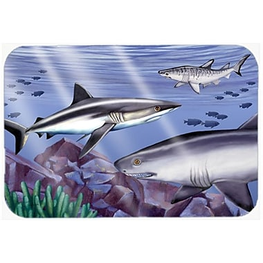 Caroline's Treasures Sharks Glass Cutting Board