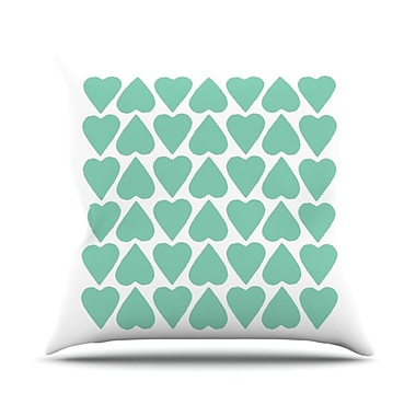 KESS InHouse Up and Down Hearts Outdoor Throw Pillow; Mint / White